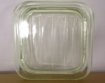 Green glass refrigerator dish replacement lid, square green glass lid, replacement lid