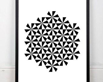 Geometric print, abstract art print, black and white print, triangles print, monochrome wall decor, instant download, 18x24 print