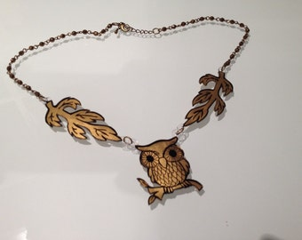 Owl on Branch Necklace