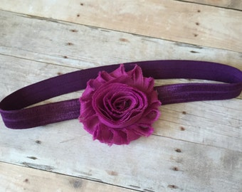 Baby Girl Purple Headband, Infant Headband, Shabby Chic Headband, Newborn headband, photo prop, girl accessories, baby, toddler
