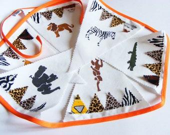6 fabric pennants handpainted Wreath. Children