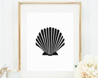 Black & White Print, Sea Shell Print, Beach Decor, Digital Print, Scallop Wall Art, Seashell Print, Ocean Print, Downloadable Print