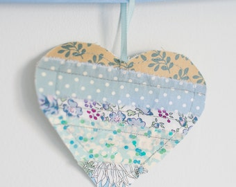 Fabric Heart Bunting Banner blue, purple & cream