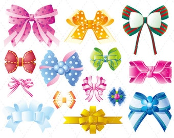 Digital Bow Clip Art Bow Clipart Gift Bow Ribbon Bow Scrapbooking, Pink Bow Blue Bow Yellow Bow Red Bow 0130