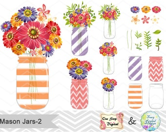 Digital Flower in Mason Jar Clipart, Red Flower Clip Art, Orange Flower in Mason Jar Clip Art, Red Mason Jar Clipart, Mason Jar Flower 00154