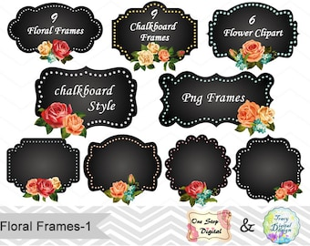 24 Chalkboard Digital Frame Clipart Chalkboard Floral Frame Clip Art Flower Frame Chalkboard Flower Label Clip Art Digital Floral Label 0156