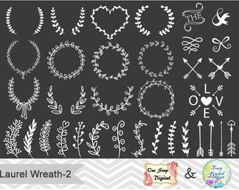 Chalkboard Digital Laurel Wreath Clip Art Hand Drawn Laurel Wreath Leaf Clipart Chalkboard Leaf Branches Laurel Branches Arrow Clipart 0150