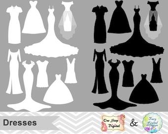 Digital Wedding Dress Clip Art Dress Silhouette Clipart Digital White Bride Dress Clip Art Digital Black Dress Silhouettes Clipart 0174
