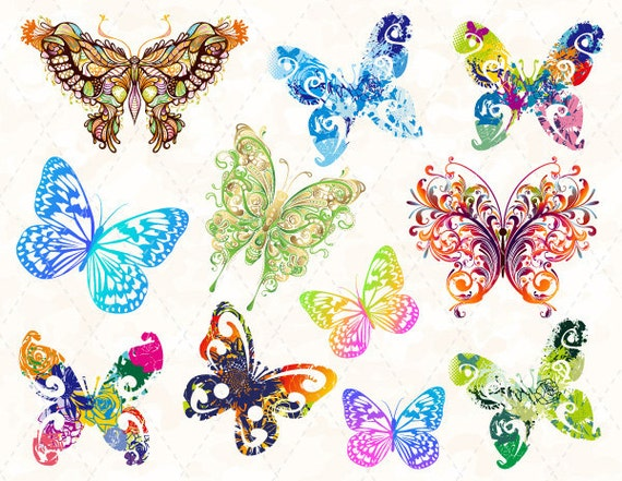 digitale butterfly clip art bunten schmetterling clipart. Black Bedroom Furniture Sets. Home Design Ideas
