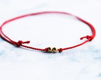 Wish bracelet / 14k gold fill bead friendship bracelet / red friendship bracelet