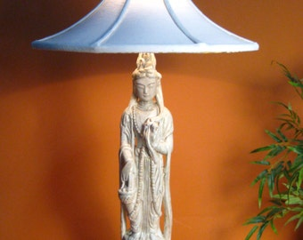 SOLD Quan Yin Table Lamp, Ceramic, with, Handmade Lamp Shade, One of a Kind, & Handmade Finial, of Opalite