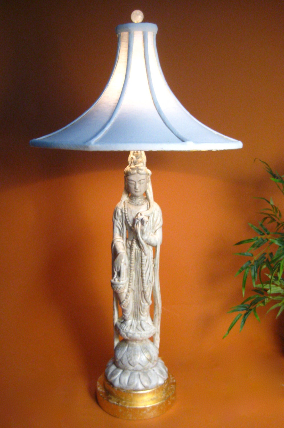 Sold quan yin table lamp ceramic with handmade lamp shade zoom geotapseo Choice Image