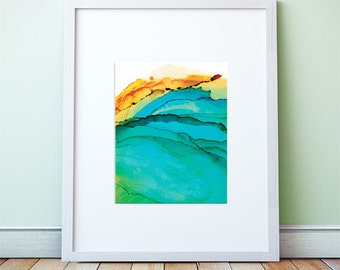 Framed Ocean Front: Art Print, Ocean Art, Surf, Abstract Watercolor, Free Shipping