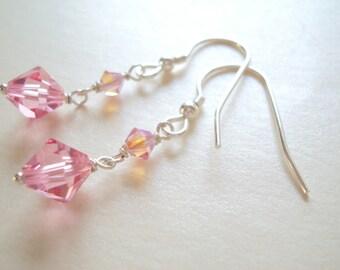 Swarovski Pink crystal dangle earrings in sterling silver (925)