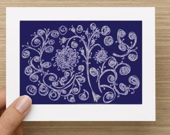 Blank Notecard - Blue Floral Expressions