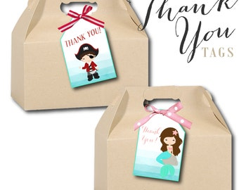 Mermaid, Mermaids, Pirates, Pirate, Sailing, Captain, Thank You, Tags, Stickers, Clipart, Digital, Instant Download