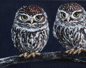 Little Owls Original Acrylic Painting on deep edge canvas 30 x 15cm