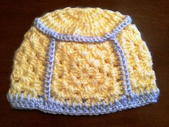 Blue and Yellow Granny Square Baby Hat