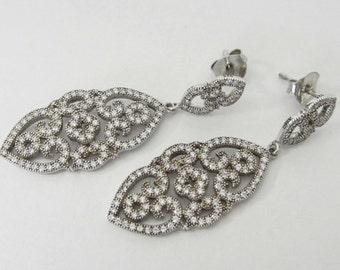 STERLING Silver Earrings, Sterling Silver Dangel Earrings, Fashion earrings, white crystals. Long earrings
