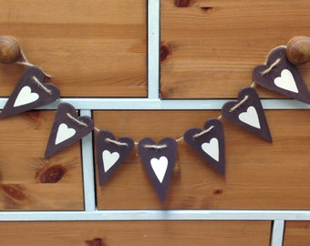 Wooden Country Heart Bunting, home decor, wall decor, wooding bunting, shabby chic