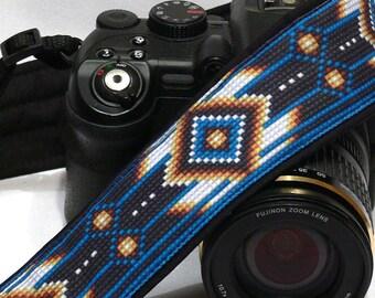 Native American Camera Strap (inspired). DSLR Camera Strap. Black and Blue Camera Strap. Camera Accessories