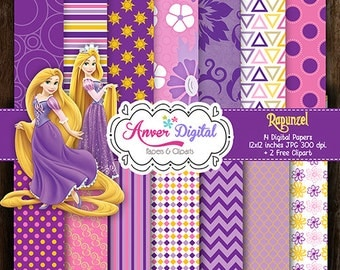 Papers Kit digital Rapunzel party printable / Tangled Paper Clipart / Princess / Printables