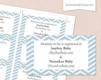 printable baby shower blue chevron registry card invitation digital diy customizable personalized