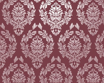 Reusable Wall Stencil Damask Repeat Pattern.  Available In 10 or 14 Mil Mylar at no extra charge.  SKU: S0009