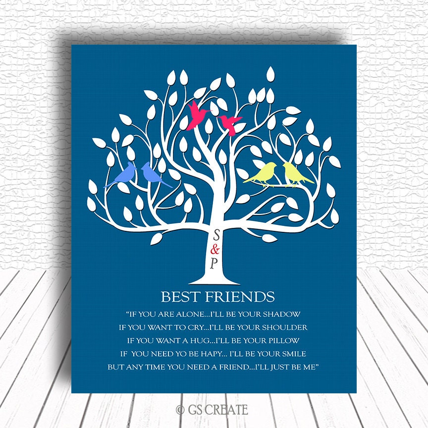 Best Friend Birthday Gift Blue White Tree Thank You By