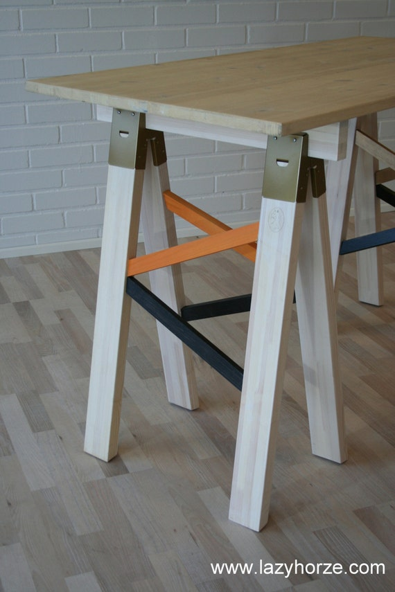 Wide sawhorse legs 100 cm 39 39 39 made of pine Sawhorse desk legs