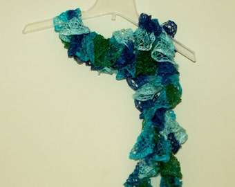 Ruffle Scarf, Knit Scarf, Green and Blue Scarf