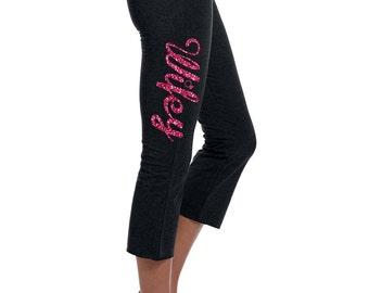 Wifey Bride Yoga Workout Lounge Pants Glitter Font Ladies' Cotton/Spandex Capri Pant
