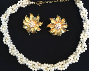 60's Seed Pearl Necklace and Earrings                   VG1026