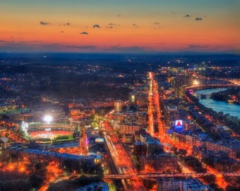 Boston Aerial Poster, Charles RIver Sunset, Fenway Park, CITGO Sign, Boston Prints, Boston Cityscape, Boston Photography, Boston Art