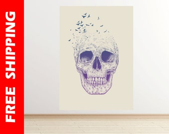 skull wall sticker, skull wall decal wall decor, skull poster, skull print, large skull painting wall art decor by Balazs Solti bal33