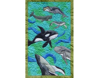 Whales  is a quilted applique pattern for a wall hanging