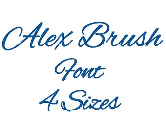 Alex Brush Font Embroidery Machine 4 Sizes