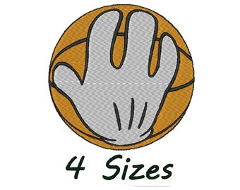 Mickey mouse Hand Basketball embroidery design. 4 Sizes.