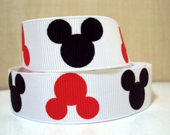 7/8 Red and Black Mickey Mouse Heads Grosgrain Ribbon  **YOU PICK QUANTITY** 1 3 5 10 yards
