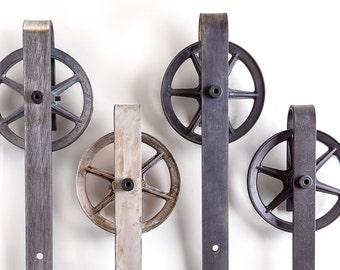 Spoked Industrial Sliding Barn Door Hardware Set