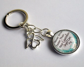 Guardian Angel Keyring ~ Never Drive Faster Thank Your Guardian Angel Can Fly ~ Angel Bag Charm