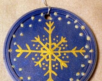 Blue/Gold Snowflake Ornament