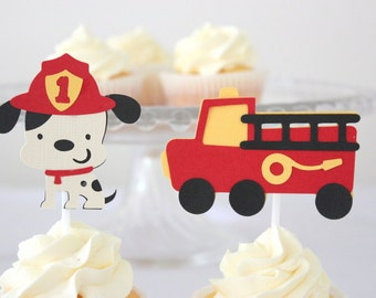 12 x Fire Truck Cupcake Toppers; Fire Truck & Dalmation Dog