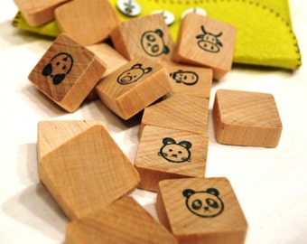 Wooden memory game, memory game, travel size memory game, pocket size memory game, animal memory game, little wooden animal game