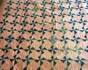 Pinwheel/Windmill Hand Stitched Patchwork Quilt