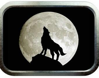 Howling wolf design 2oz silver tobacco tin,pill box,storage tin