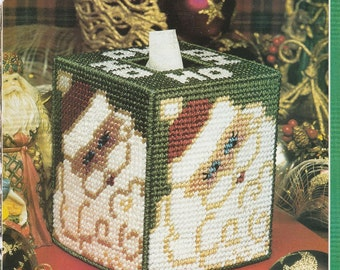 Pretty Santa Ho Ho Ho Tissue Box in Plastic Canvas