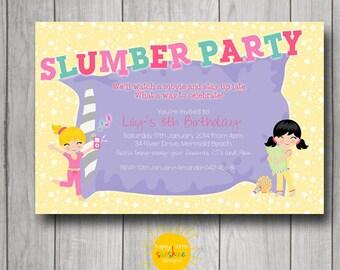 Girl Birthday Invitation Personalised Printable Any Age Sleepover Slumber Party