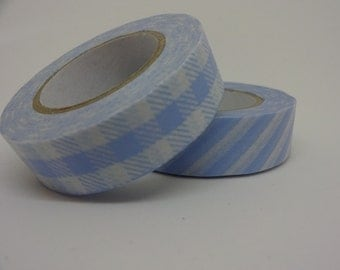 Japanese Washi blue tape set of 2 by 15 meters crafting tape washi decorative tape cardmaking tape baby tape scrapbook tape