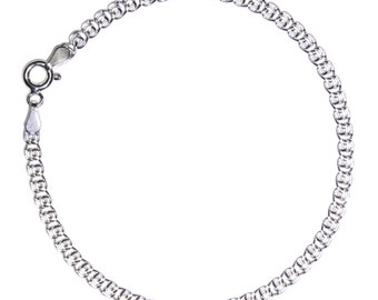 """7.5 inch 925 STERLING SILVER Chain Bracelet Heart Shaped Links 7.5"""" Rhodium Finished"""